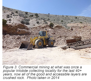Figure 3: Commercial mining at what was once a popular trilobite collecting locality for the last 40+ years, now all of the good and accessible layers are crushed rock.  Photo taken in 2014.